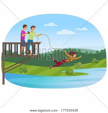 Woman doing bungee jumping with the friends vector illustration