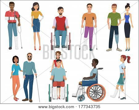 Disabled people with friends helping them set. Vector illustration