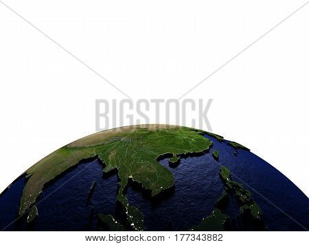 Indochina At Night On Model Of Earth With Embossed Land