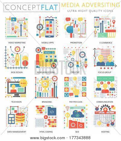 Infographics mini concept Media advertising icons and digital marketing for web. Premium quality color conceptual flat design web graphics icons. Media advertising technology concepts