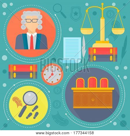 Law and justice design concept with judge, libra scales and court of law tribunal template icons in circles design, web elements, poster banner, Vector illustration