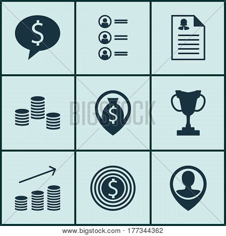 Set Of 9 Hr Icons. Includes Female Application, Coins Growth, Tournament And Other Symbols. Beautiful Design Elements.
