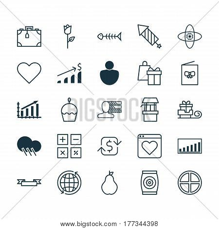 Set Of 25 Universal Editable Icons. Can Be Used For Web, Mobile And App Design. Includes Elements Such As Seafood Skeleton, Suitcase, Company Statistics And More.