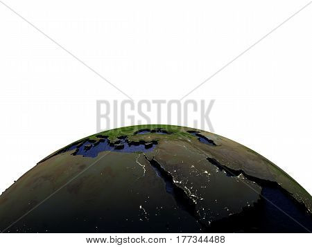 Middle East At Night On Model Of Earth With Embossed Land