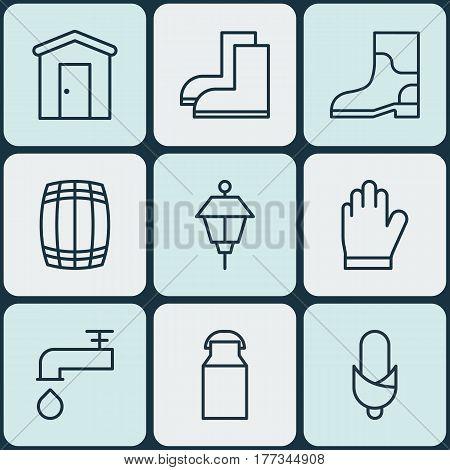 Set Of 9 Agriculture Icons. Includes Lantern, Jug, Protection Mitt And Other Symbols. Beautiful Design Elements.