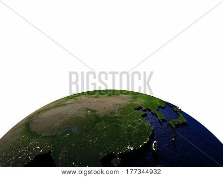East Asia At Night On Model Of Earth With Embossed Land