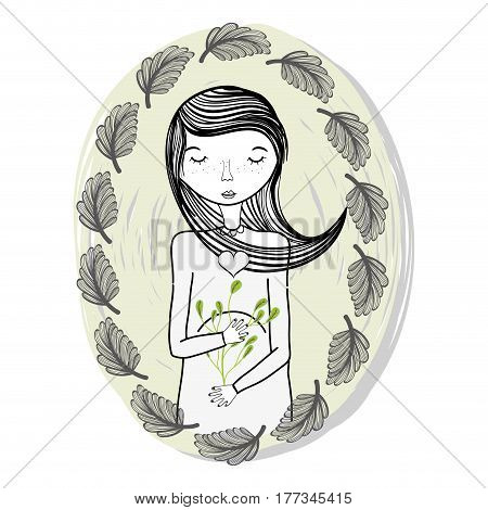 mother with ayes closed and leaves, vector illustration design
