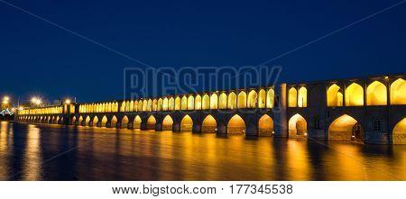 Isfahan, Iran - Circa February 2016 - A night shot of Si-o seh Pol in Isfahan, Iran