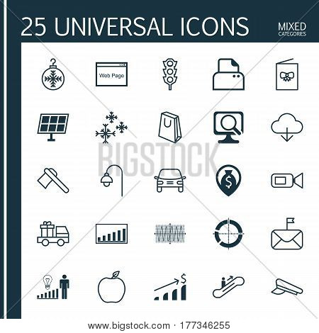 Set Of 25 Universal Editable Icons. Can Be Used For Web, Mobile And App Design. Includes Elements Such As Lorry Birthday, Tree Toy, Lamppost And More.