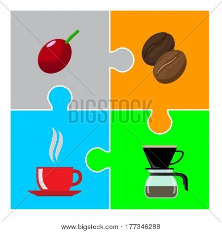 Coffee beans and coffee cup on colorful jigsaw puzzle.