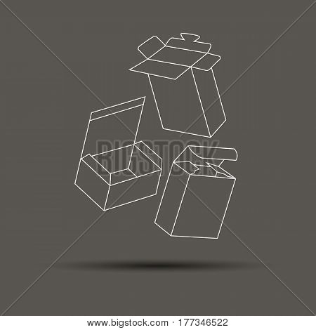 box vector gift set shape illustration package carton open