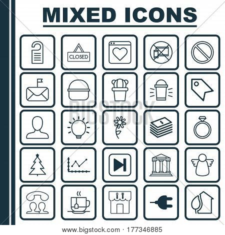 Set Of 25 Universal Editable Icons. Can Be Used For Web, Mobile And App Design. Includes Elements Such As Web Profile, Connector, Significant Letter And More.