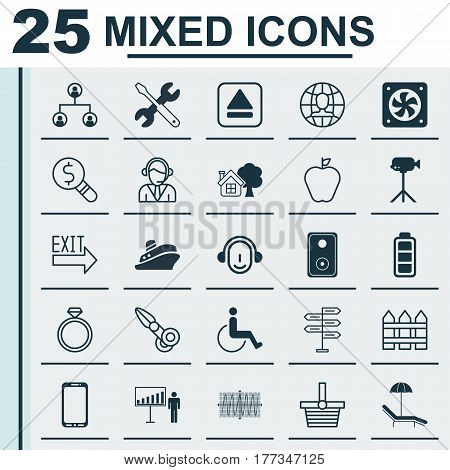 Set Of 25 Universal Editable Icons. Can Be Used For Web, Mobile And App Design. Includes Elements Such As Accessibility, Taste Apple, Camcorder And More.