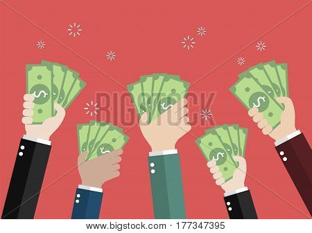 Businessman holding money for auction bidding. Vector illustration