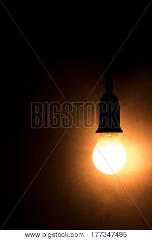 The electric bulb is bright in the dark