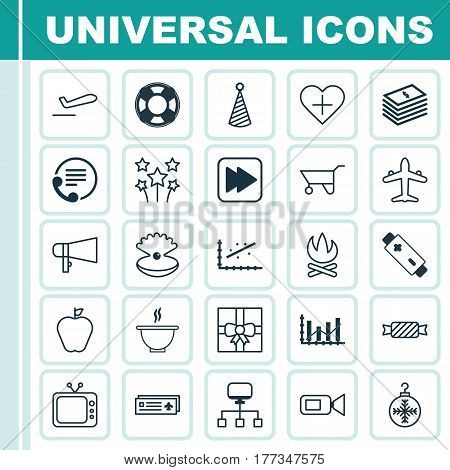 Set Of 25 Universal Editable Icons. Can Be Used For Web, Mobile And App Design. Includes Elements Such As Airport Card, Dollar Banknote, Television And More.