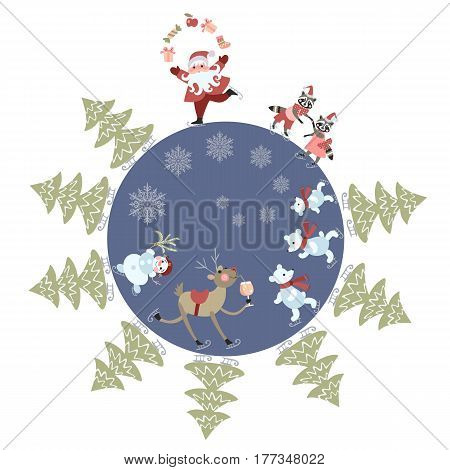 Greeting card Merry Christmas! Cute cartoon Santa Claus juggling gifts, reindeer, snowman, polar bears, little raccoons and christmas trees on skates. Beautiful vector illustration. Round composition.