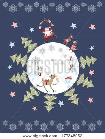 Cute cartoon Santa Claus juggling gifts, reindeer, snowman, polar bears, little raccoons and christmas trees on skates. Vector illustration. Round composition. Greeting card with snowflakes and stars.