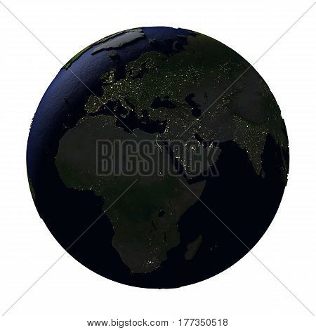 Emea Region On Earth At Night Isolated On White