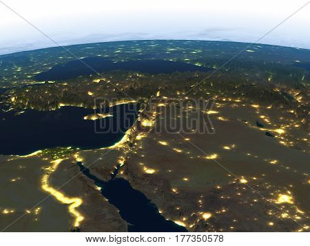 Middle East At Night On Planet Earth