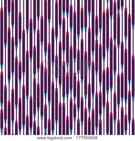Colorful striped ornament. Vertical lines with a different width and effect of aberrations. Pink and blue irregular intersecting shapes. Seamless pattern for a background.