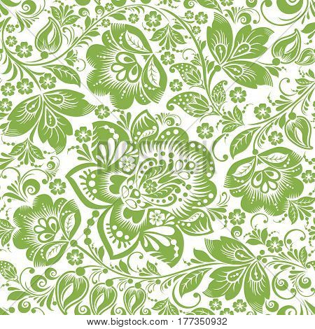 Greenery russian floral seamless pattern background, vector illustration. Spring style