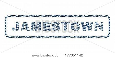 Jamestown text textile seal stamp watermark. Blue jeans fabric vectorized texture. Vector tag inside rounded rectangular banner. Rubber emblem with fiber textile structure.