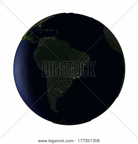 South America On Earth At Night Isolated On White