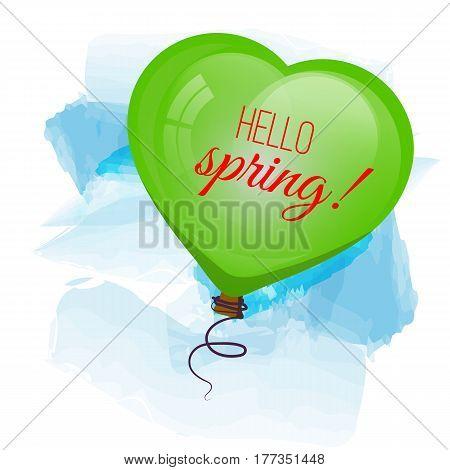 Card Hello spring. Green balloon flying in sky. Vector illustration.