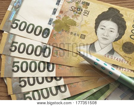 South Korea won money currency. Business and finance concept.