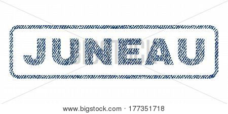 Juneau text textile seal stamp watermark. Blue jeans fabric vectorized texture. Vector tag inside rounded rectangular banner. Rubber sign with fiber textile structure.