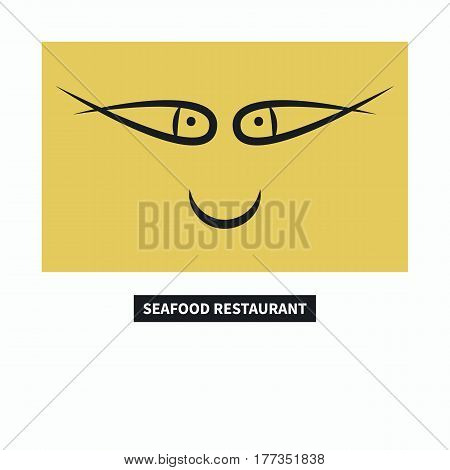 Icon seafood restaurant. Face smiley with eyes fish. Vector illustration.