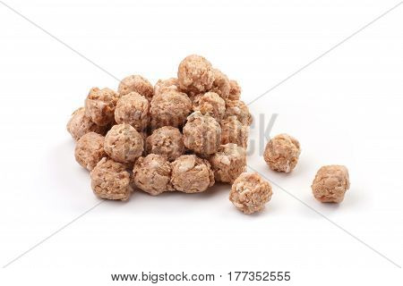 meat-balls on a white background. intermediate product. delicious breakfast