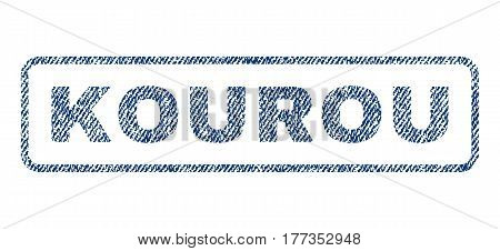 Kourou text textile seal stamp watermark. Blue jeans fabric vectorized texture. Vector caption inside rounded rectangular shape. Rubber sign with fiber textile structure.