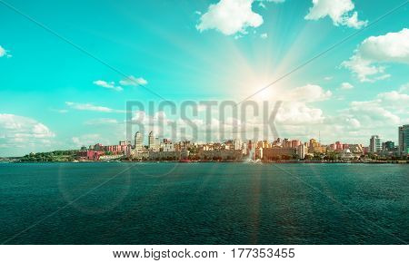 Quay of the big city at day, the river Dnepr, Dnepropetrovsk poster