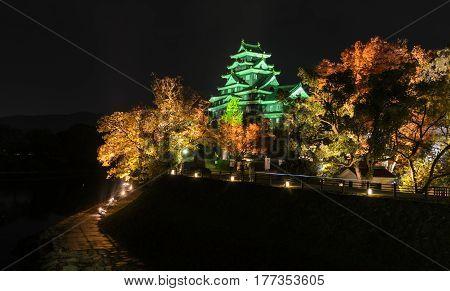 Stunning night illumniation autumn color of Okayama castle or Crow castle in Okayama Japan