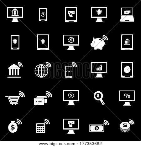 Online banking icons on black background, stock vector