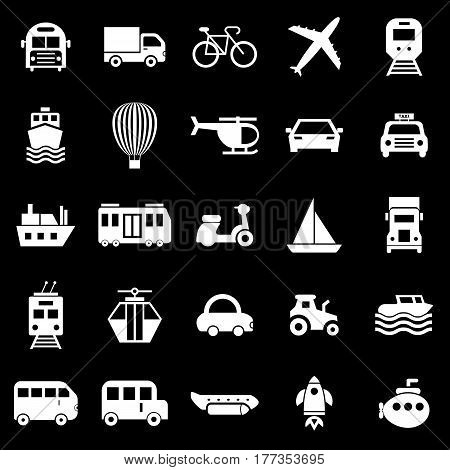 Transportation icons on black background, stock vector