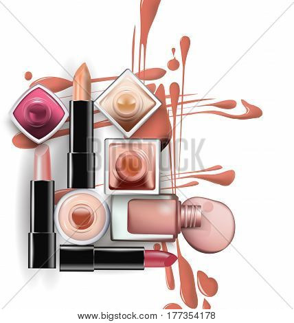 Close up of nail polish with drops of nail polish light pastel shades with lipstick on white background. Perfect for advertising banners booklet magazines. Vector template