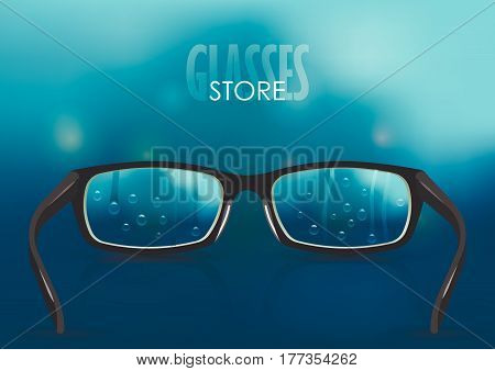 Vector illustration on the theme of myopia, vision. Black stylish realistic glasses with drops close-up on a background of blurred blue rainy gradient mesh. For poster, adv, web template.