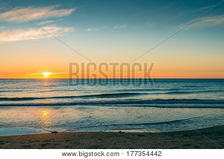 Sunset over the sea at Glenelg Beach South Australia