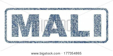 Mali text textile seal stamp watermark. Blue jeans fabric vectorized texture. Vector caption inside rounded rectangular shape. Rubber emblem with fiber textile structure.