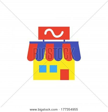 Vector icon or illustration showing business as store building in material design style