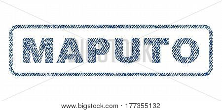 Maputo text textile seal stamp watermark. Blue jeans fabric vectorized texture. Vector tag inside rounded rectangular banner. Rubber sign with fiber textile structure.