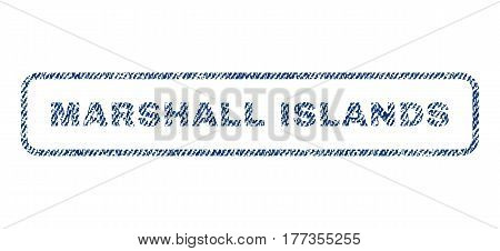 Marshall Islands text textile seal stamp watermark. Blue jeans fabric vectorized texture. Vector caption inside rounded rectangular banner. Rubber emblem with fiber textile structure.