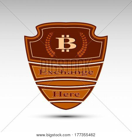 The vector flat shield with bit coin symbol.Exchange here
