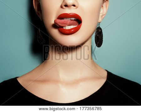 Portrait In Profile. Natural Full Lips With Bright Lip Makeup