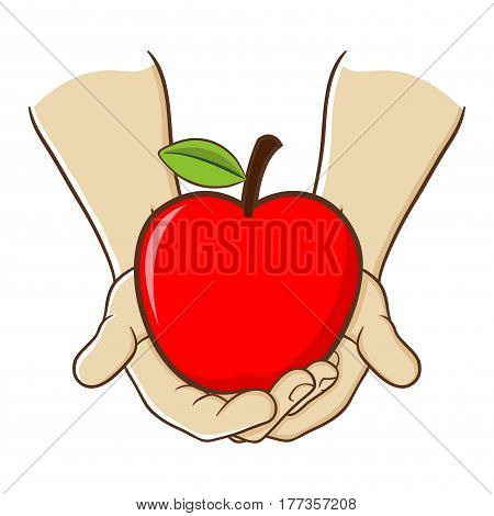 Vector stock of two hand holding big red apple fruit