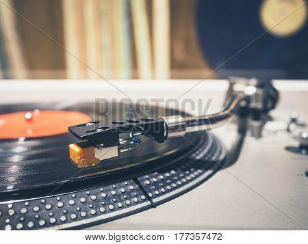 Vinyl Record on Turntable Player Music Vintage Retro