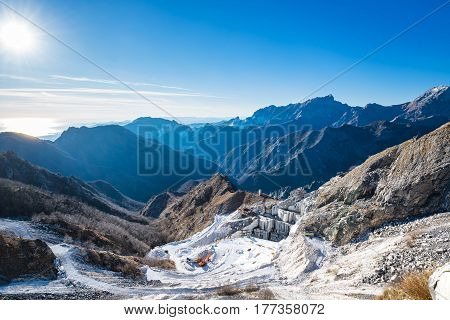 Alpi Apuane mountains and marble quarry view. Carrara Tuscany Italy Europe.